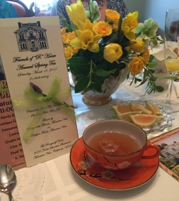 Rengstorff House Annual Spring Tea favors, unique tea centerpieces and teacup and saucers tea gift ideas.